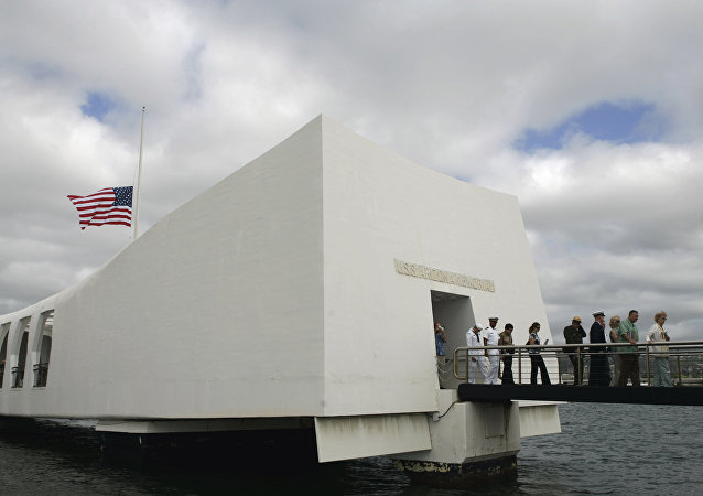 USS Arizona Memorial during the 68th anniversary ceremony of the attack on Pearl Harbor at Pearl Harbor Naval Base in Honolulu. (File)