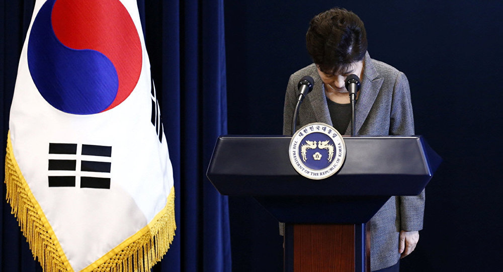 South Korean President Park Geun-Hye bows during an address to the nation, at the presidential Blue House in Seoul, South Korea, 29 November 2016