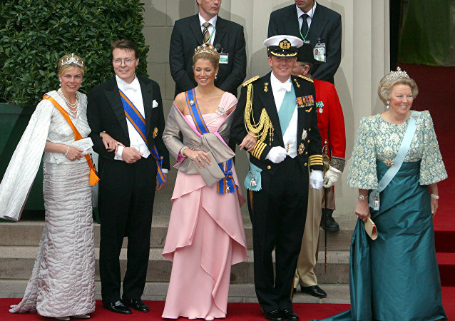 Members of the Dutch royal family, left, to right, Princess Laurentien, Prince Constantijn, Princess Maxima, Crown Prince Willem Alexander, and Queen Beatrix.