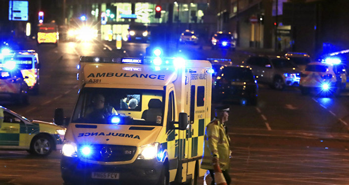 Emergency responders outside Manchester Arena after reports of an explosion at the venue during an Ariana Grandeconcert in Manchester, England, Monday, May 22, 2017.
