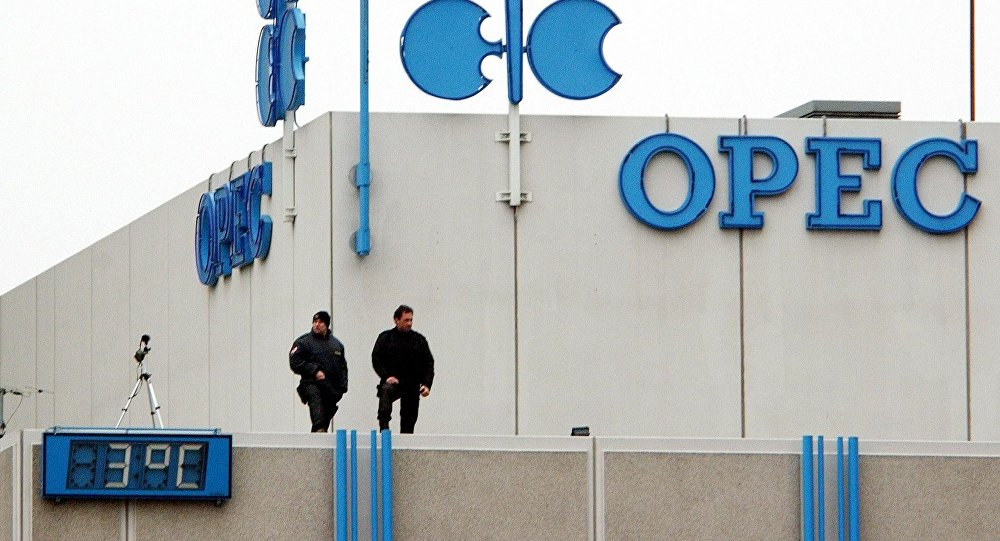 A security officer overlooks a street from a rooftop of the OPEC headquarters in Vienna. (File)